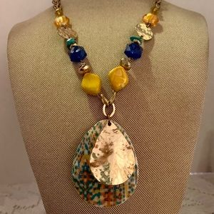 Beautiful Metal Multi Color and Gold Necklace